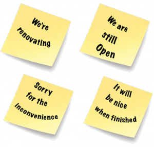 Open but rennovating
